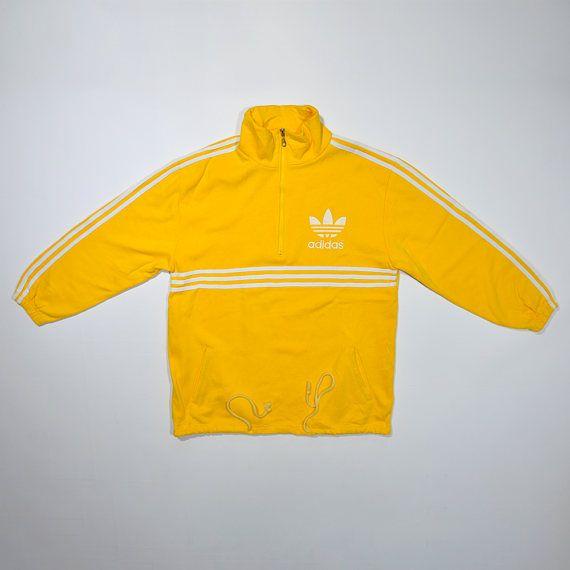 f8279a485 Rare Vintage 80s 90s ADIDAS Yellow Jumper Pullover   ADIDAS Streetwear   ADIDAS  Pull Over   Adidas Half Zipper Sweatshirt   Stripe Trefoil
