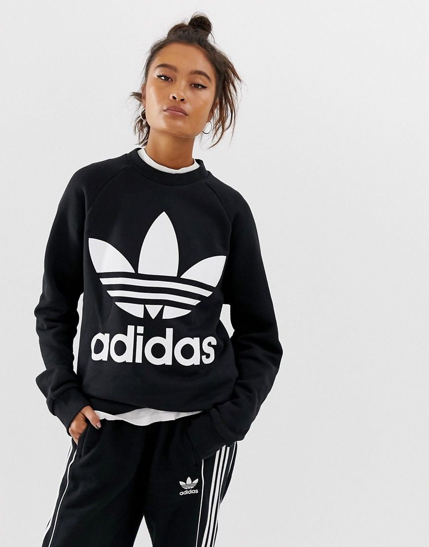 Adidas Oversized Trefoil Originals Sweater Black rnxqwOrBg8