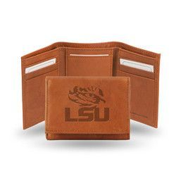 LSU Tigers Leather Embossed Trifold Wallet