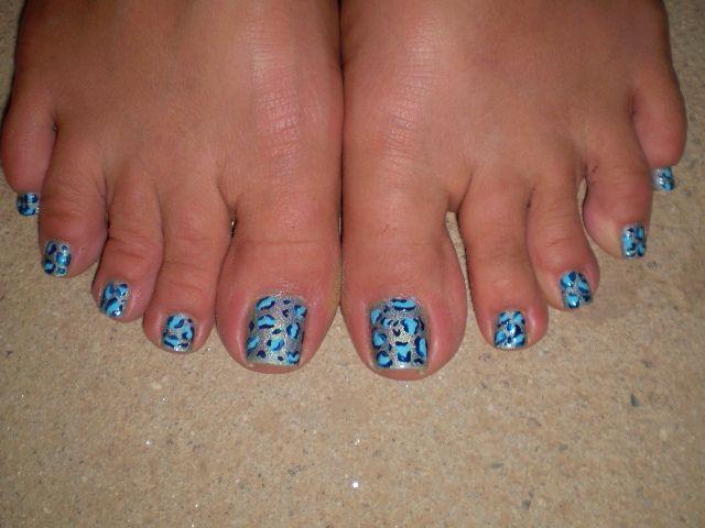 Manicure Blue Leopard Pedicure Design