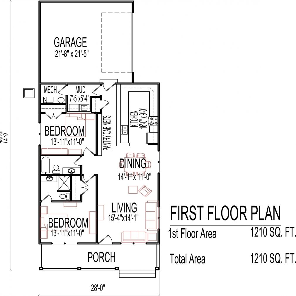 small two bedroom house plans low cost sq ft one story