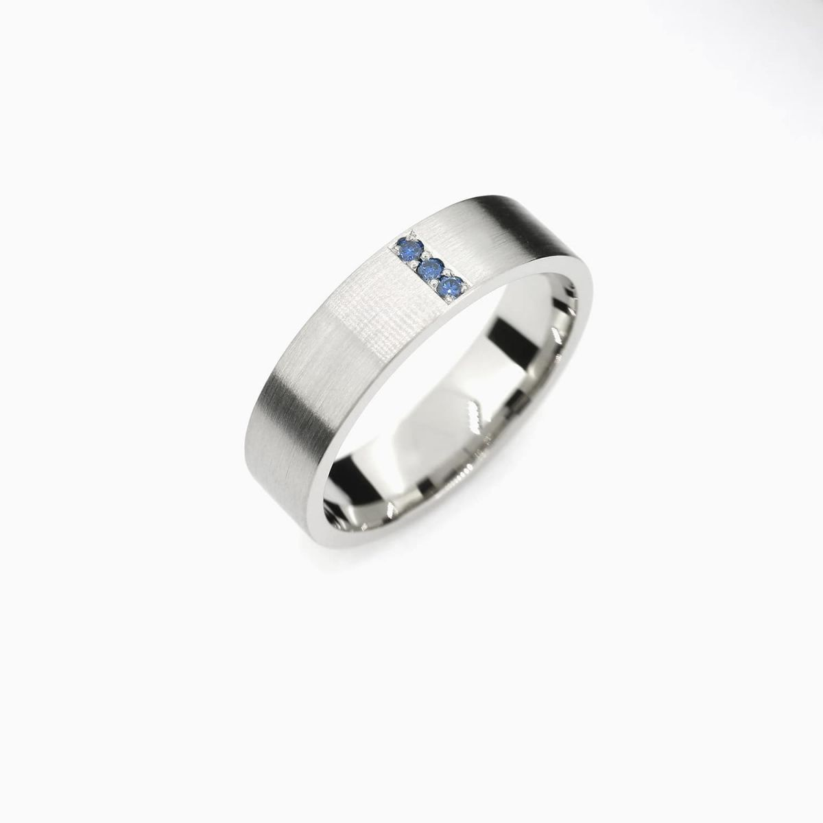 Matte Line Ring With Blue Sapphires In Palladium Palladium Wedding Band Sapphire Wedding Band Rings For Men