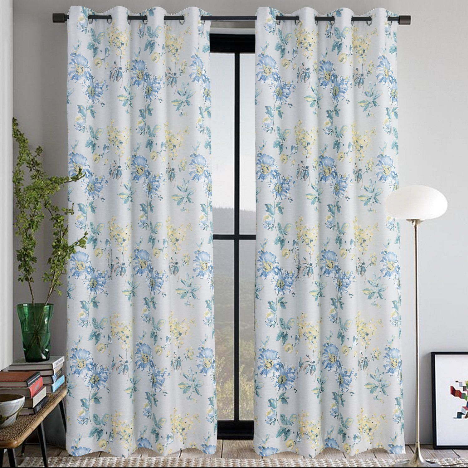 Teal Blue Yellow Flowers Curtains Anady Design Window Small