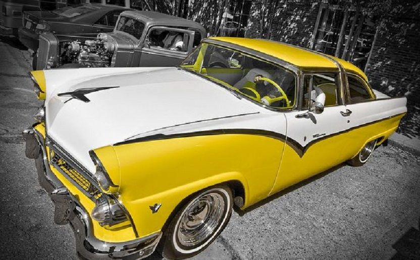 1955 Ford Fairlane Yellow And White Crown Victoria Classic Cars American Classic Cars Ford Fairlane