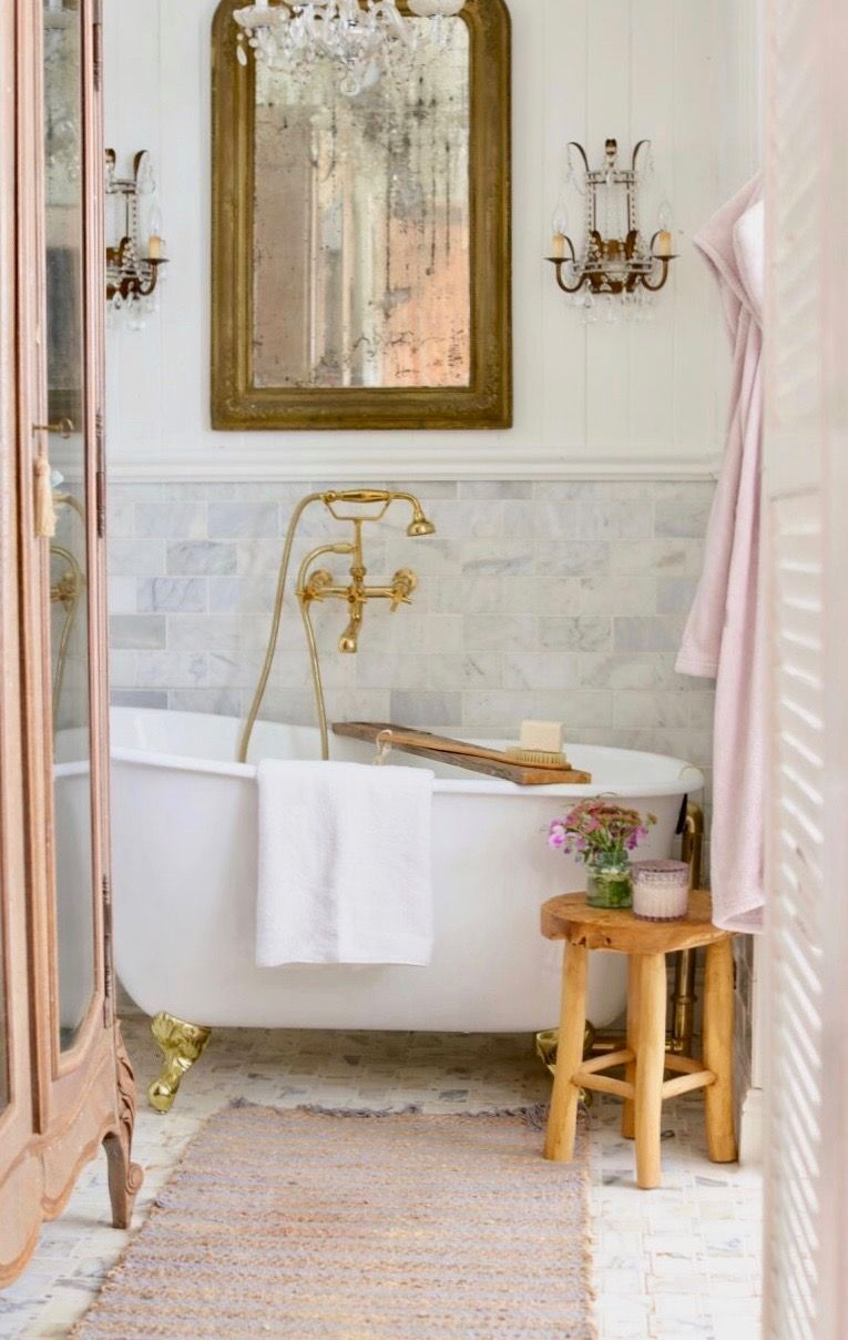 3 Ways To Add French Cottage Charm To Your Bathroom In 5 Minutes In 2020 Country Bathroom Designs French Cottage Bathroom French Country Cottage