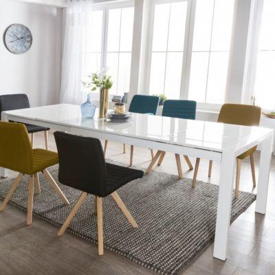 Wohnling WOHNLING Esszimmertisch GLORY 160 X 76 X 90 Cm Ausziehbar  Hochglanz Weiß Metall Holz | Küchentisch Für 8   10 Personen | Design  Esstisch Ru2026