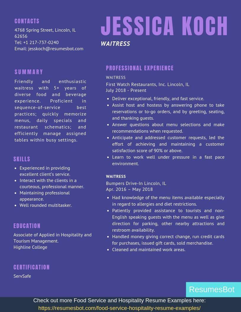 Waitress Resume Samples Templates Pdf Doc 2021 Waitress Resumes Bot Resume Template Examples One Page Resume Template Resume Cover Letter Template