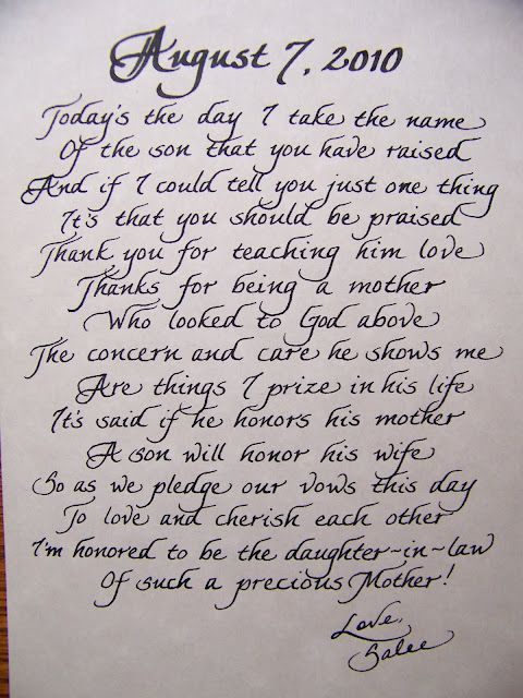 The Personal Touch: Mother In Law Poem - from the Groom  Great Gift Idea