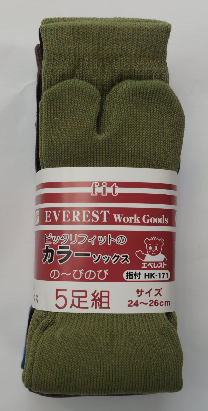 Everest 24~26 cm. ( Pack of 5 Pairs ) http://www.japanstuff.biz/ BUY IT : http://www.japanstuff.biz/TabiSocksIndex.html