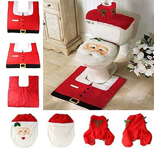 3D Nose Santa Toilet Seat Cover and Rug Set Red Christmas Decorations Bathroom Set of 3 * Learn more by visiting the image link.