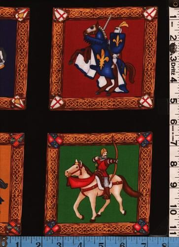 Fabric Timeless Medieval Knights Framed Panel Horse SCA | eBay