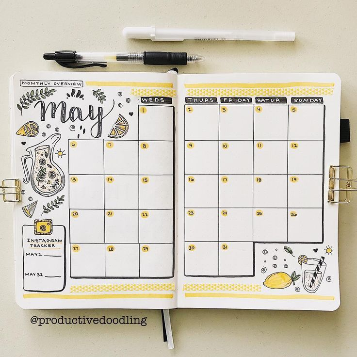 "Mandy Mair | Bullet Journal on Instagram: ""yay for monthly spreads!!� i had so much fun setting up this spread and doodling more little lemons!!� •• i decided to go with a blown up…"""