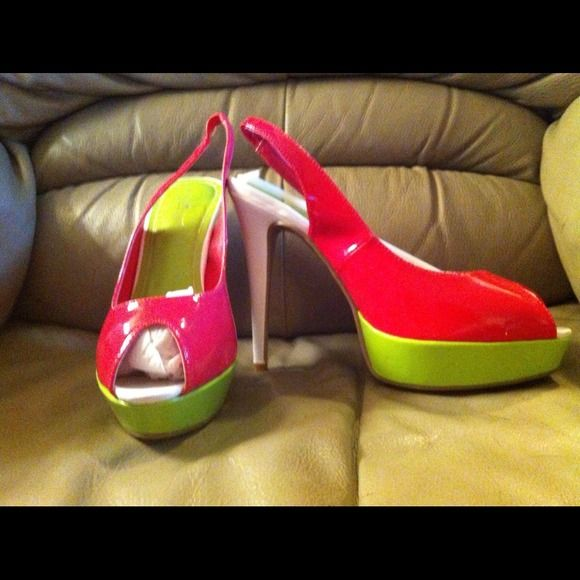 Pretty Platform Sandals New, never worn,size 10, Ann Michaele sandals. Fuschia, lime green and white. Shoes Sandals