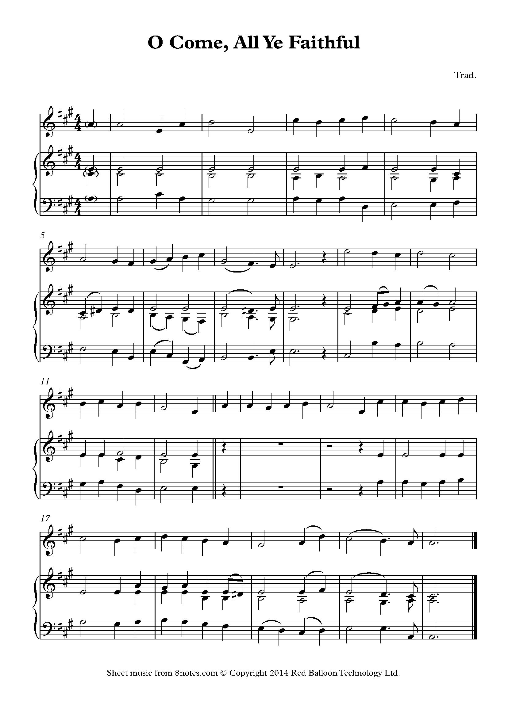 O Come All Ye Faithful Sheet Music For Violin