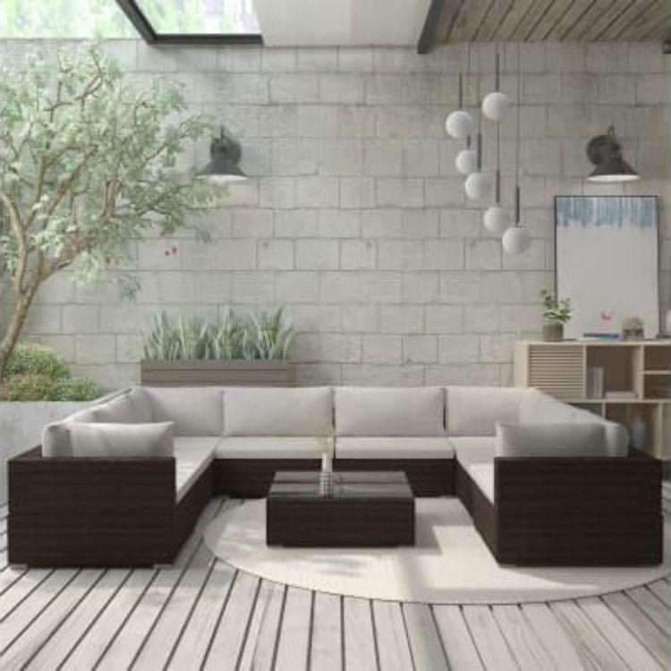 Salon Jardin Complet Ra C Sine Tressa C E Brun Cielterre Commerce En