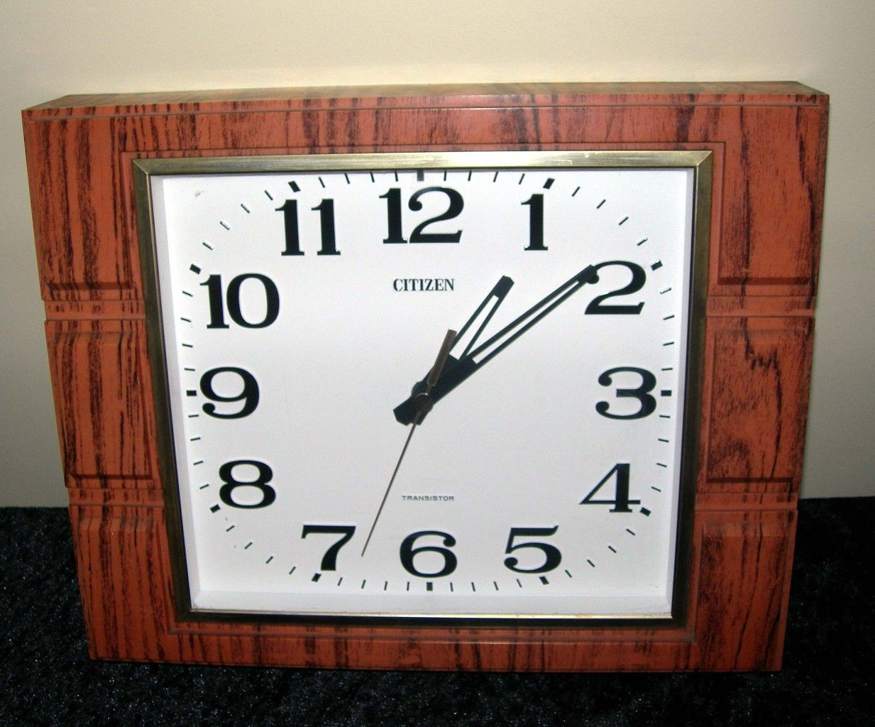Retro Vintage Eames Era 1960s 1950s Mid Century Teak Wood Style Brass Wall Clock Vintage Eames Wall Clock Teak Wood