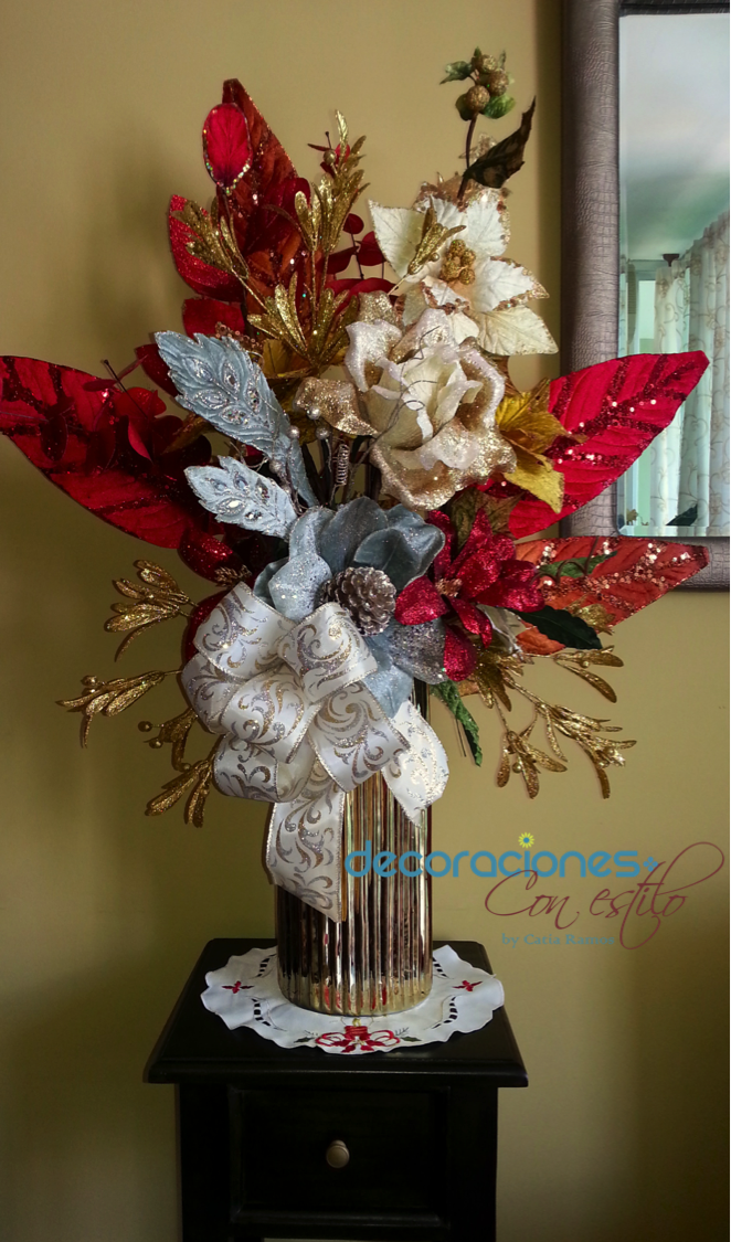 Hermoso arreglo navide o decoraci n navide a pinterest christmas decor navidad and ideas para - Ideas para arreglos navidenos ...
