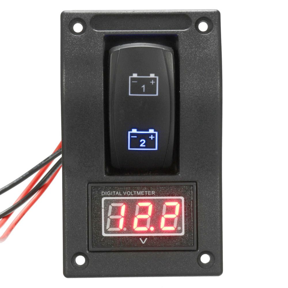 12v marine boat dual led battery test panel rocker switch led voltage voltmeter [ 1000 x 1000 Pixel ]