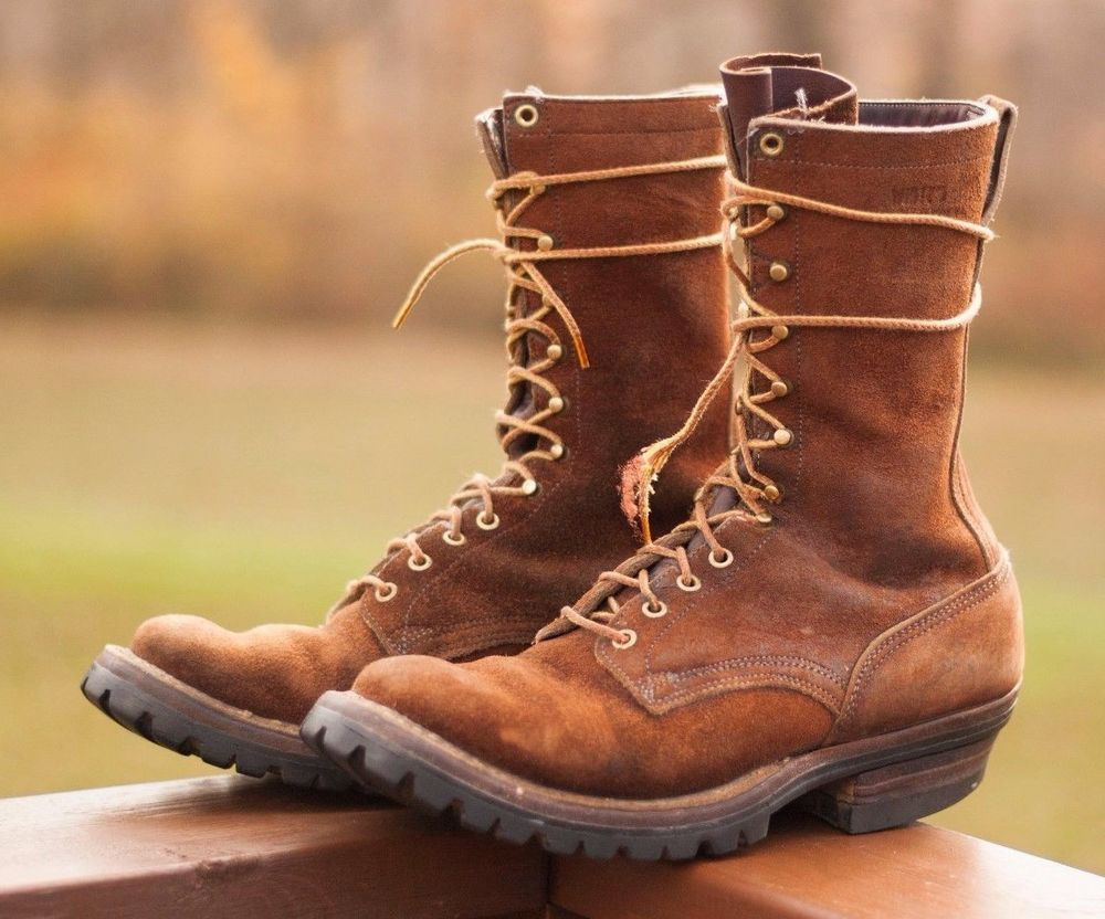 white s logger boots roughout leather usa made 11 5 b