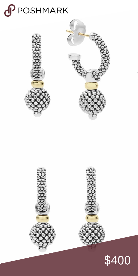 2a70fc957 Lagos Caviar Hoop Earrings Hoop earrings with sterling silver Caviar  beading and 18K gold accents. Caviar ball is removable for added  versatility.