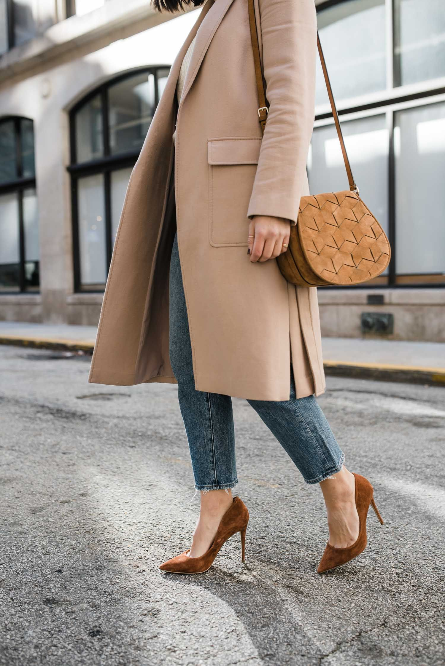 The Best Neutrals For Winter An Indigo Day Affordable Style Blog Pumps Outfit Coat Outfits For Women Winter Outfits Dressy [ 2247 x 1500 Pixel ]