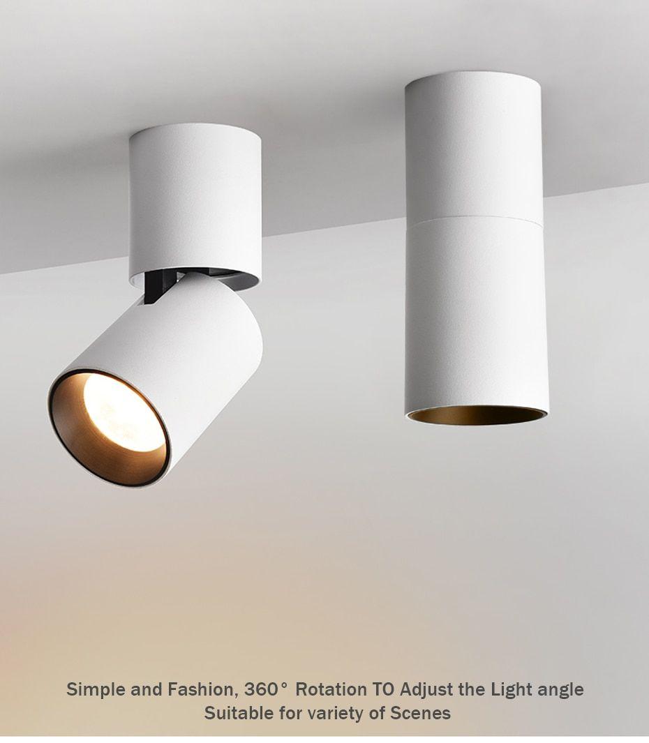 Dvolador Led Surface Mounted Ceiling Downlight Adjustable 360 Degrees Spot Light For Indoor Foyer Ceiling Spotlights Led Ceiling Lights Modern Lighting Design Led spot light fixture