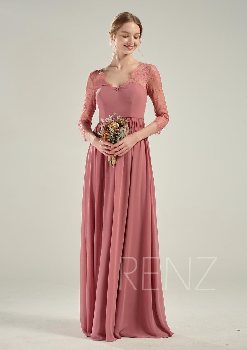 Bridesmaid dress lace wedding dress boho long sleeves v