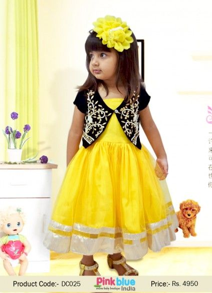 eb0ccc734ff08 Exclusive Bright Yellow Fashion Dress with Velvet Jacket for Girls ...
