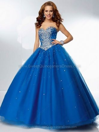 Ball Gown Sweetheart Tulle Satin Floor-length Rhinestone Quinceanera Dresses at sweetquinceaneradress.com