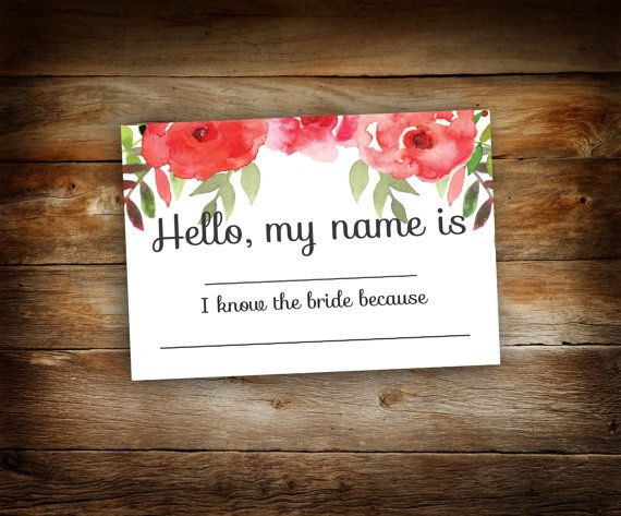 name tags  name badges  bridal shower  floral  hello my name is  bridal party  bachlorette party