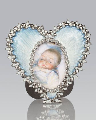Dominique Pale Blue Oval in Heart Frame by Jay Strongwater at ...