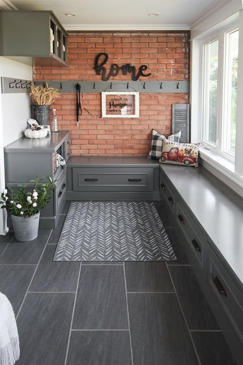 Fall Entryway Decor Ideas: Our Fall Side Porch and Mud Room | The Creek Line House