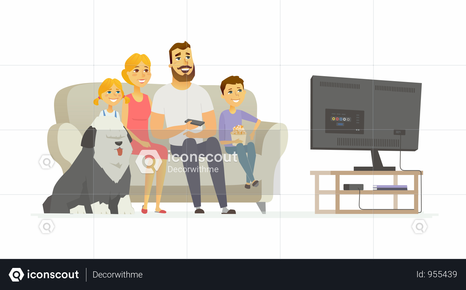 Premium Happy Family Watching Tv Illustration Download In Png Vector Format Illustration Business Illustration Cartoon People