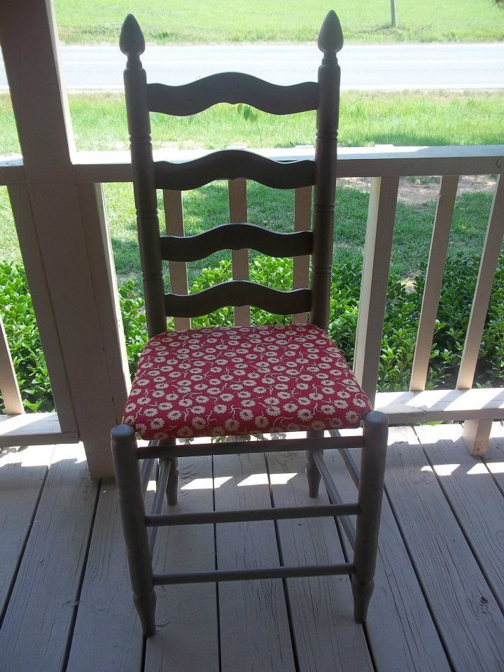 Took A 10 Ladderback Chair From Yard Removed Rotted Cane Seat Cut Out Bottoms Plywood Upholstered With Foam Cushion And Fabric