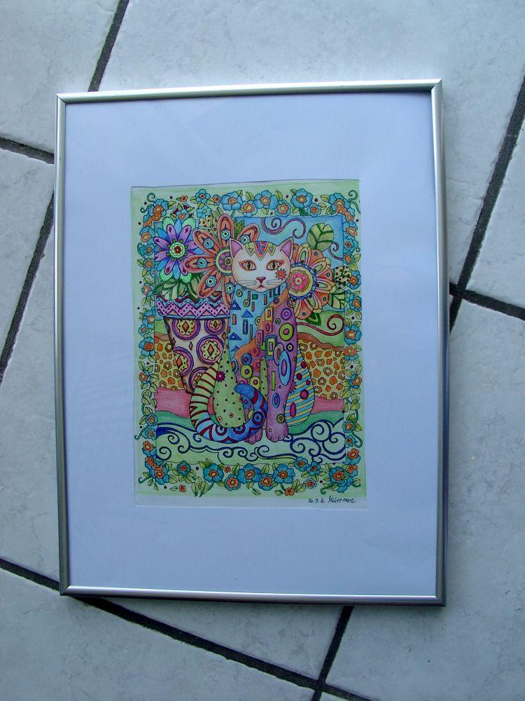 Katzen malen für Erwachsene aus dem Heft von Marjorie Sarnat gemalt ...