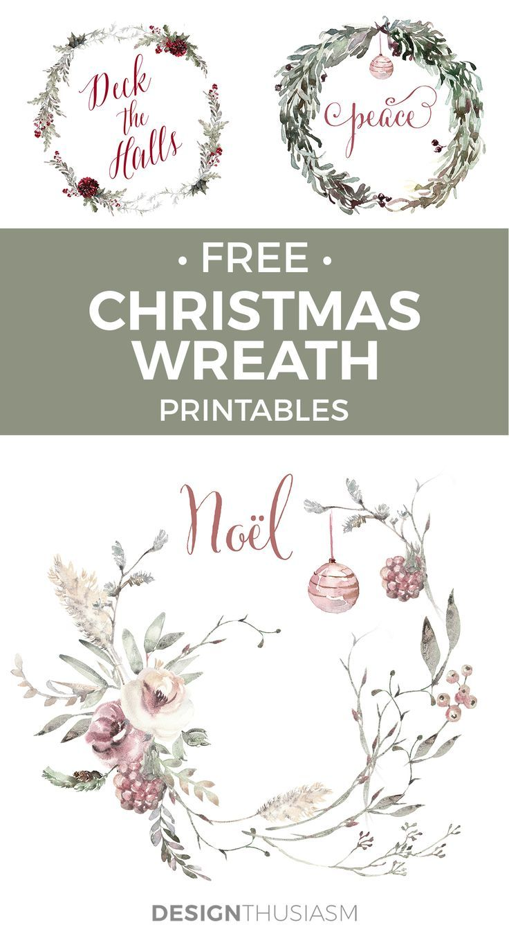 Photo of Romantic French Country Christmas Wreath Printables