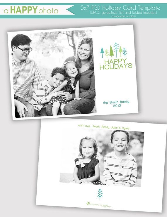 Trees Holiday Photo Card Template Photographers Psd Whcc 5x7 Flat And Folded Christmas Phot Holiday Card Template Photo Card Template Holiday Photo Cards