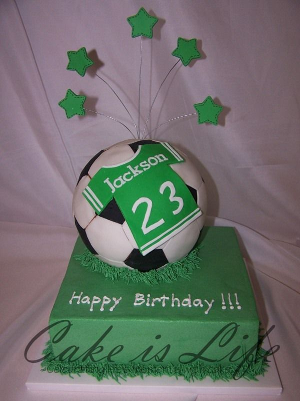 Soccer cake with name on jersey Gotta make this someday BIRTHDAY