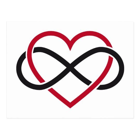 infinity heart never ending love postcard art. Black Bedroom Furniture Sets. Home Design Ideas