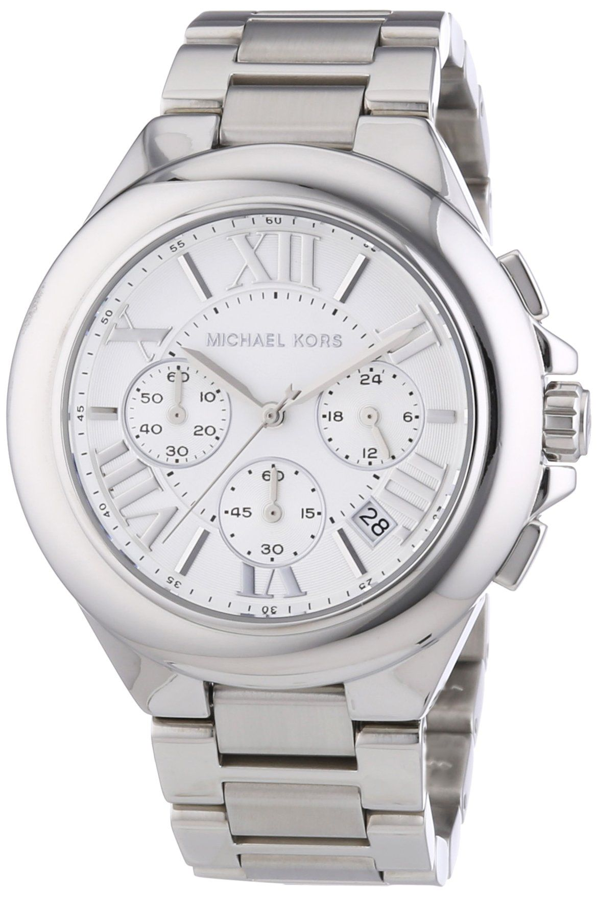 4cd055f6cab3 Michael Kors MK5719 Women s Chronograph Camille Stainless Steel Bracelet  Silver Watch  Michael Kors  Watches