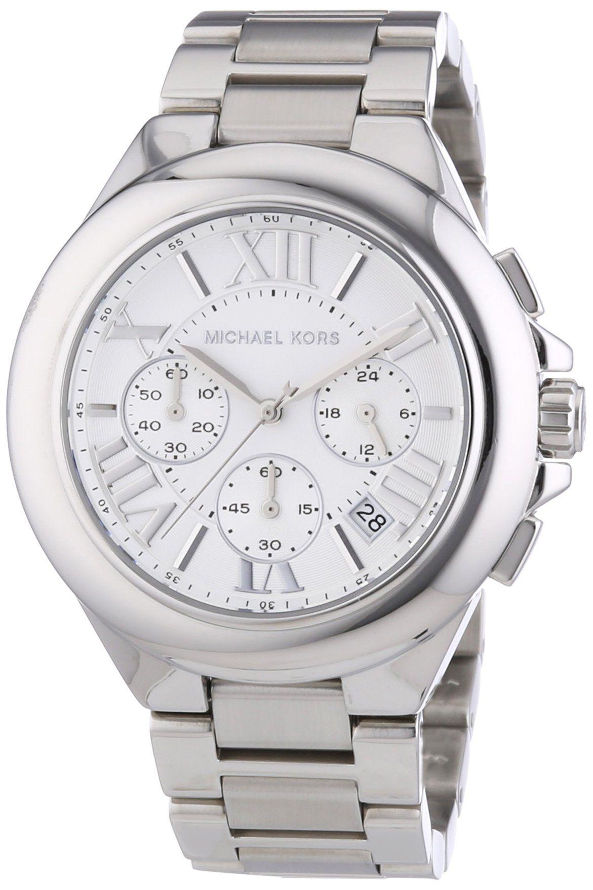 caac244c22e3 Michael Kors MK5719 Women s Chronograph Camille Stainless Steel Bracelet  Silver Watch  Michael Kors  Watches