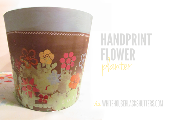 So cute! A handprint flower vase for mother's day (would be a great gift for grandma)