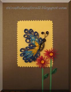 Craft Ideas for all: Paper Quilling : Butterfly and flowers