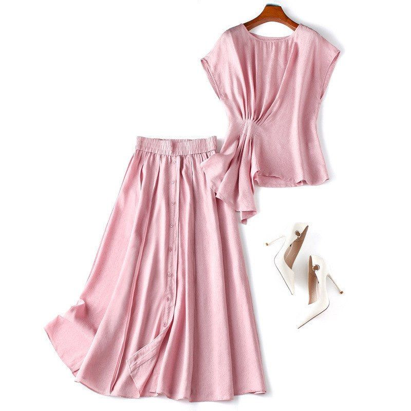 1969a4b8ef US $63.84 15% OFF|Women ruched pink tops and blouses sleeveless summer T  shirts