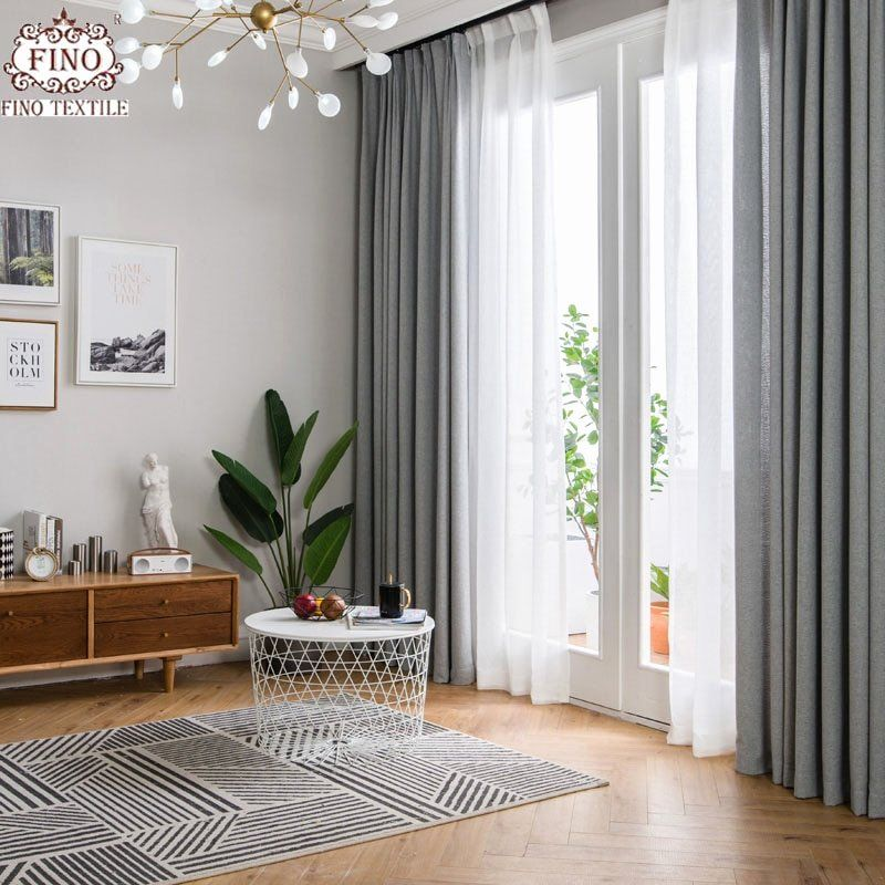 Drapery Idea For Living Room Windows Best Of Fino Nordic Gray Solid Curtai In 2020 Living Room Decor Curtains Window Treatments Living Room Curtains Living Room Modern