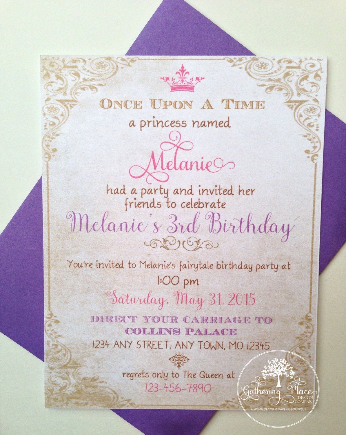 One of a kind personalized princess birthday invitations set of 10 one of a kind personalized princess birthday invitations set of 10 includes personalized invitations and envelopes choice of colors filmwisefo