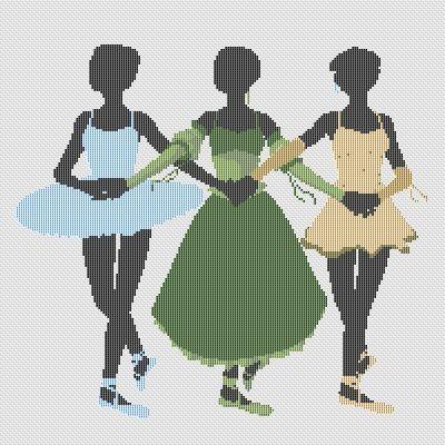 Counted Cross Stitch Pattern Ballet Ballerina Silhouettes PDF cs0908