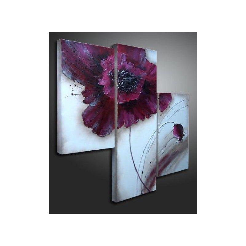tableau triptyque fleur moderne - tableau design | l'art du beau