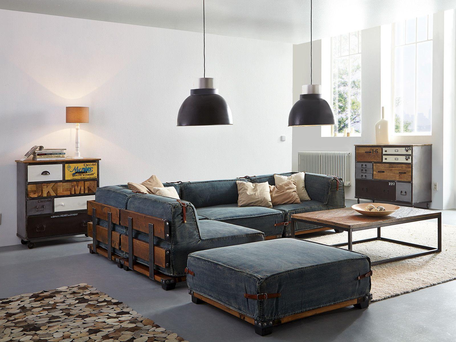 Wohnzimmer Hocker ~ Rercyceltem jeansstoff hartholzgestell metallapplikationen hocker