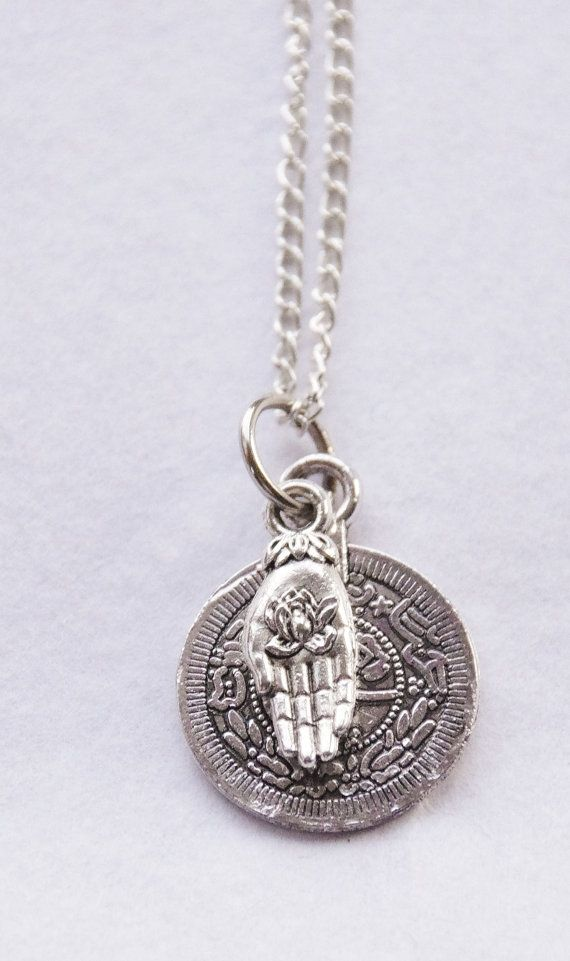 Lotus Flower Necklace Buddha Hand Necklace Boho Coin Pendant